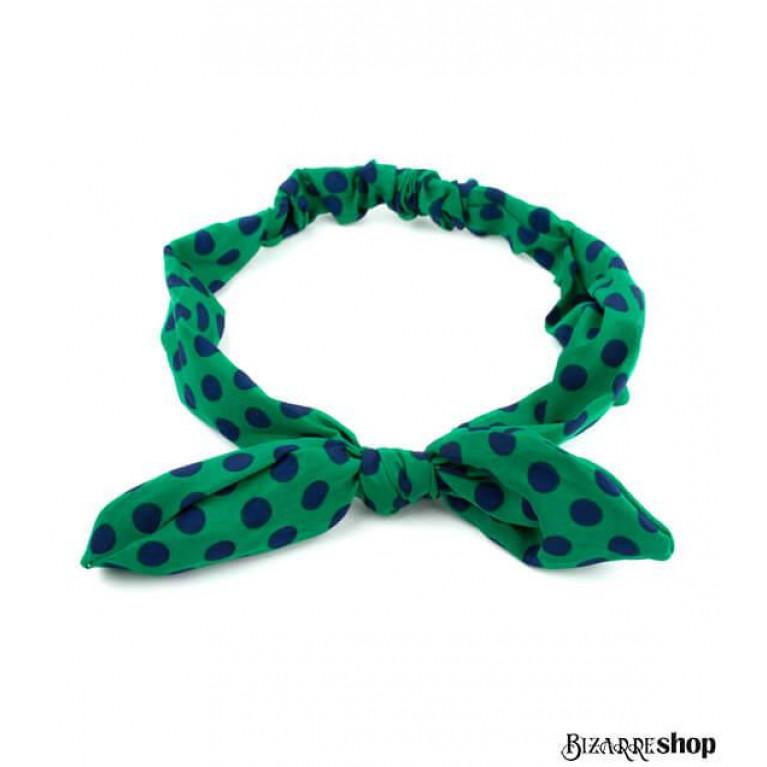 Повязка для волос зеленая синий горошек