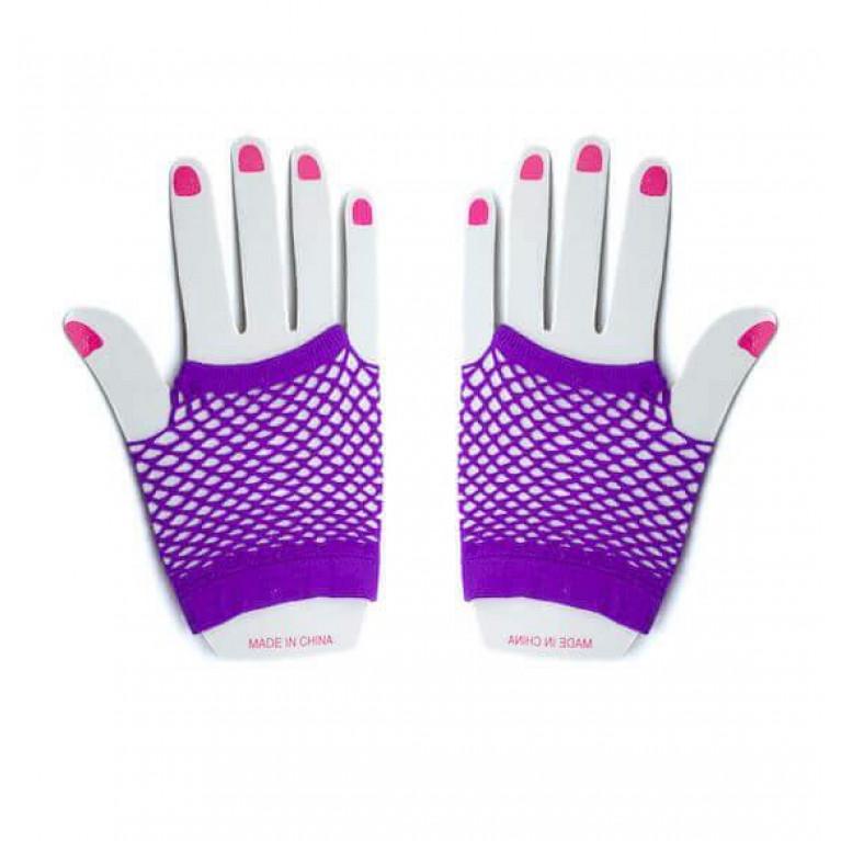 """Перчатки в сеточку короткие """"Sexy hands"""" фиолетовые"""