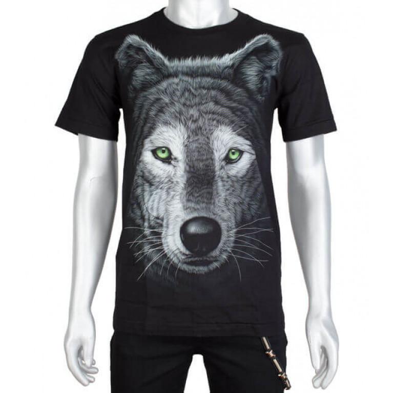 Футболка Волк зеленые глаза