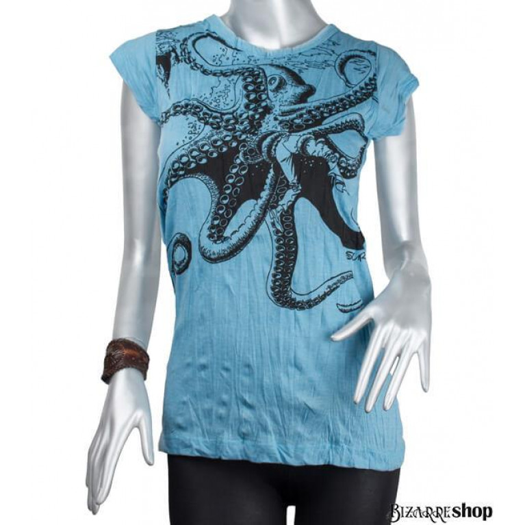 Женская футболка Octopus голубая