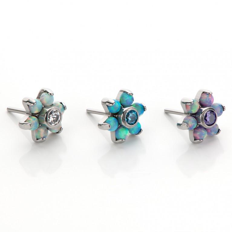 Насадка Flower титановая безрезьбовая (Threadless) с опалами и кристаллом CZ