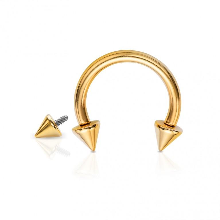 Циркуляр из титана с конусами золотой