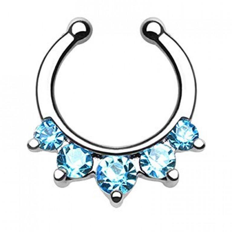 Фейк  для септума 5 голубых кристаллов