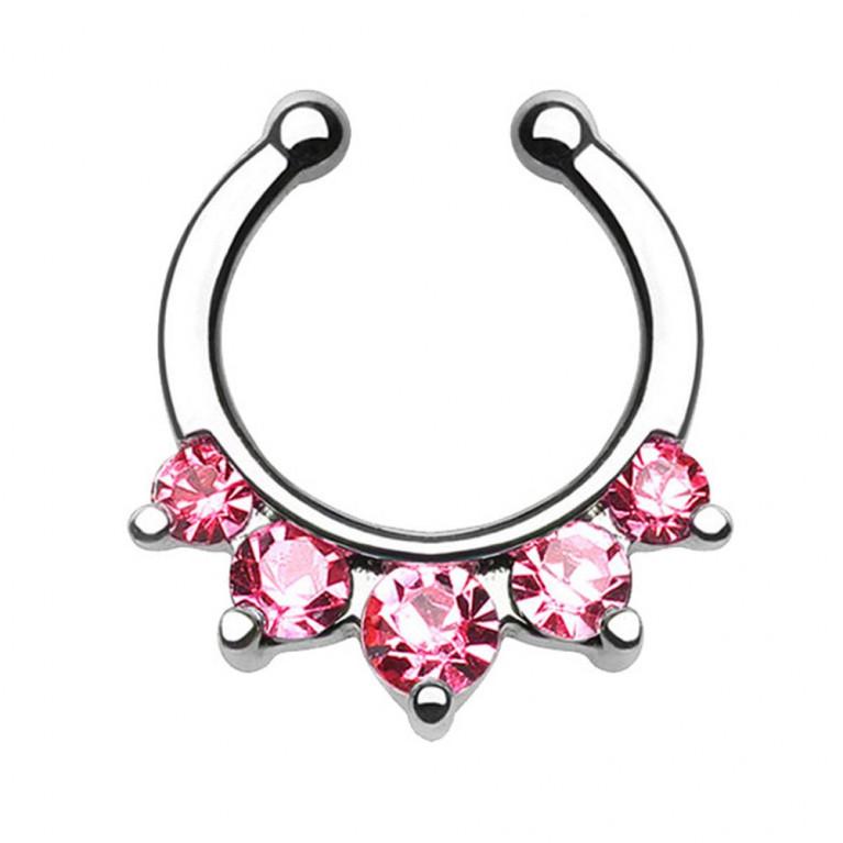Фейк для септума 5 розовых кристаллов