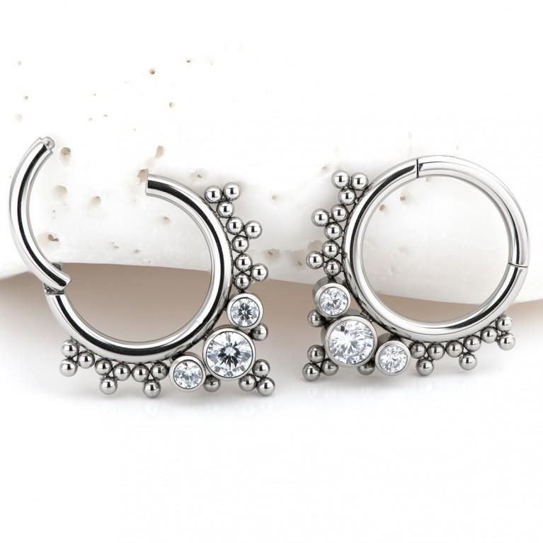 Кликер Bubbles с тремя кристаллами CZ титан