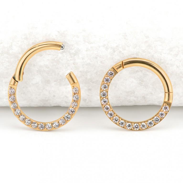 Кликер с прозрачными кристаллами CZ титан (золотой)