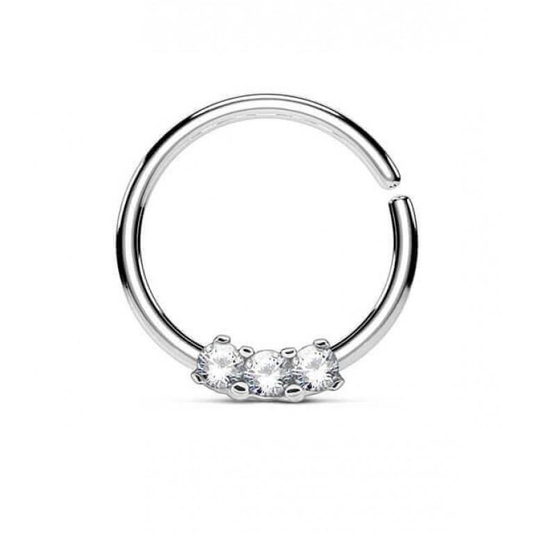 Кольцо разжимное с тремя кристаллами металлик толщина 1.2 мм диаметр 10 мм