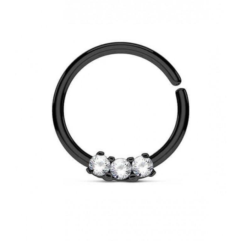 Кольцо разжимное с тремя кристаллами черное толщина 1.2 мм диаметр 10 мм