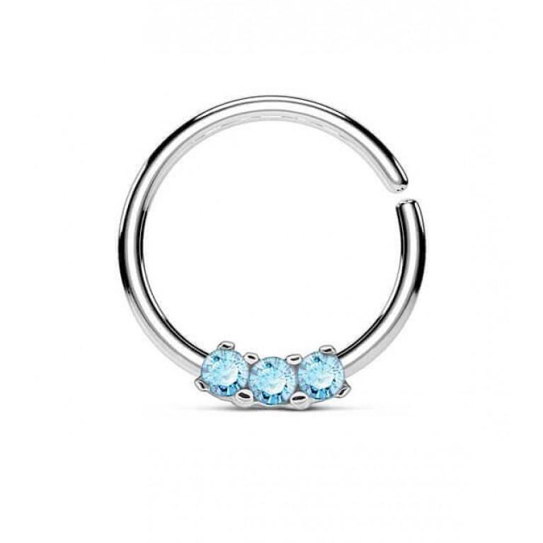 Кольцо разжимное с тремя голубыми кристаллами толщина 1.2 мм диаметр 10 мм