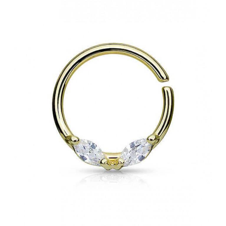 Кольцо разжимное с двумя кристаллами золотистое толщина 1.2 мм диаметр 10 мм