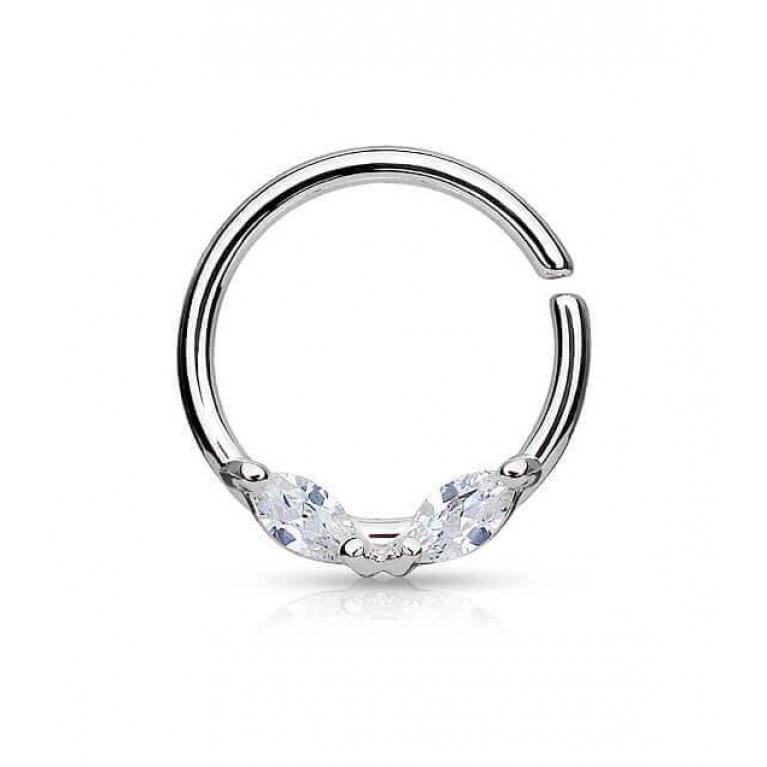 Кольцо разжимное с двумя кристаллами толщина 1.2 мм диаметр 10 мм