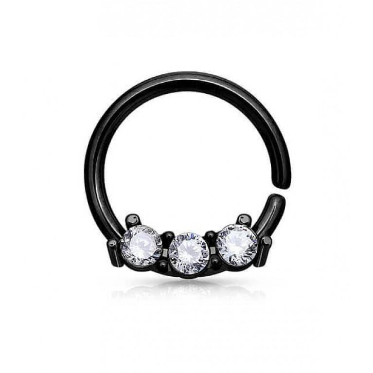 Кольцо разжимное с тремя кристаллами черное толщина 1 мм диаметр 8 мм