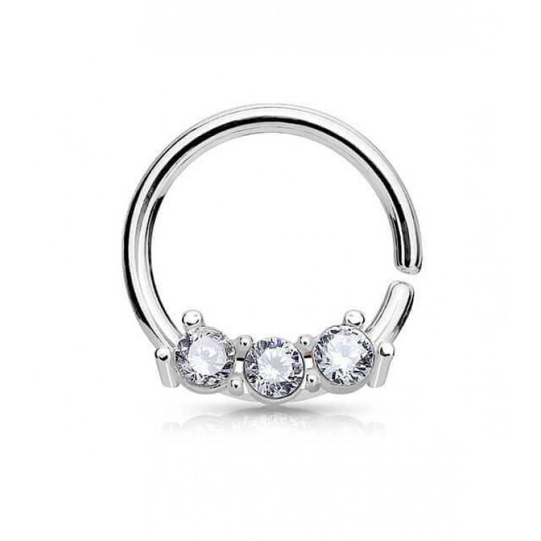 Кольцо разжимное с тремя кристаллами толщина 1 мм диаметр 8 мм