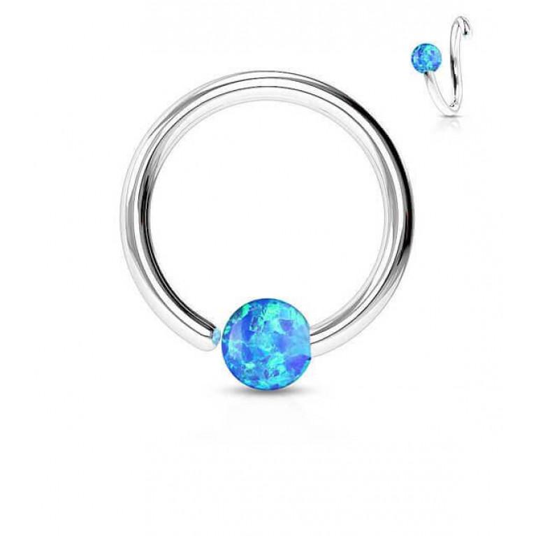Кольцо разжимное с синим опалом