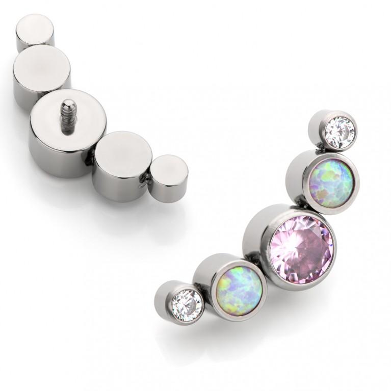 Кластер титановый с кристаллами CZ и нежно-розовыми опалами