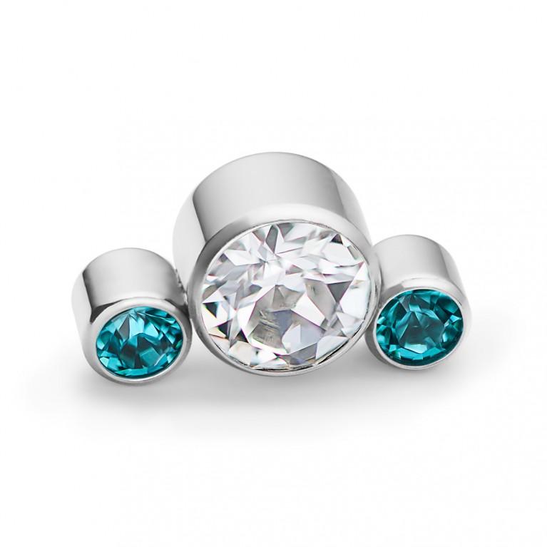 Кластер титановый с тремя кристаллами CZ (прозрачный/синий)
