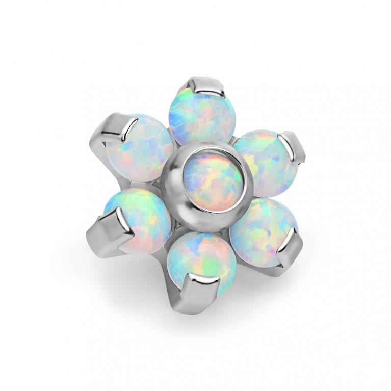 Накрутка титановая Opal Flower с опалами