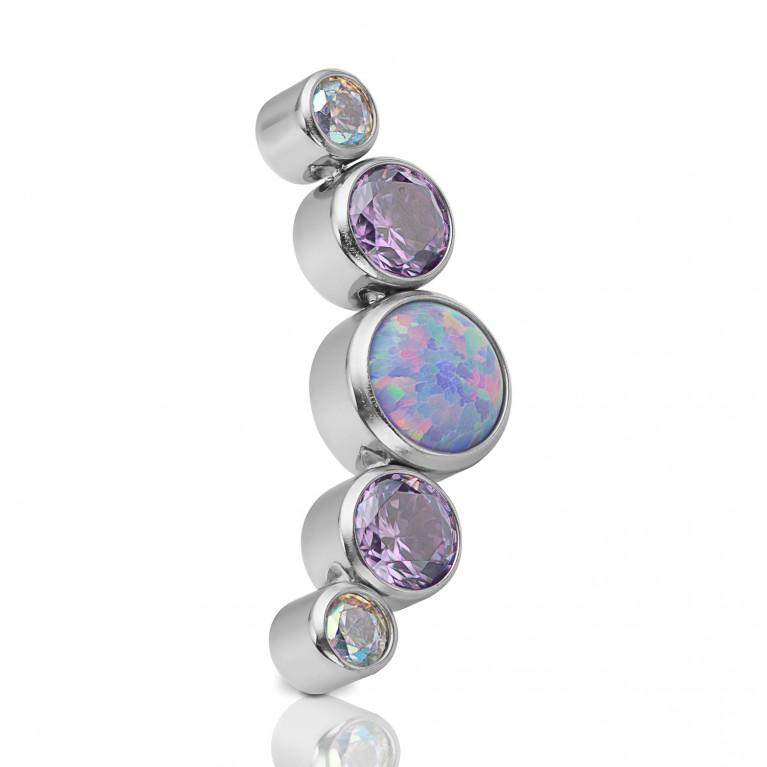 Кластер титановый с фиолетовым опалом и кристаллами CZ