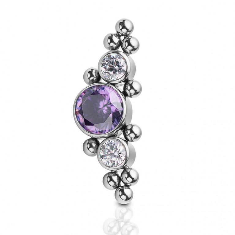 Кластер титановый с кристаллами CZ (белый/фиолетовый) и бульонками
