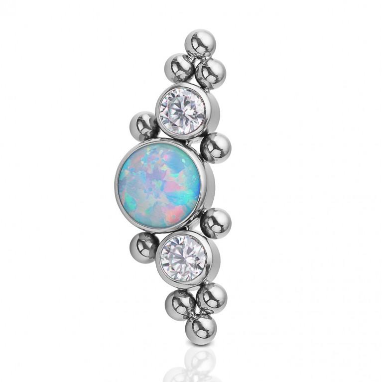 Кластер титановый с голубым опалом, кристаллами Clear CZ и бульонками