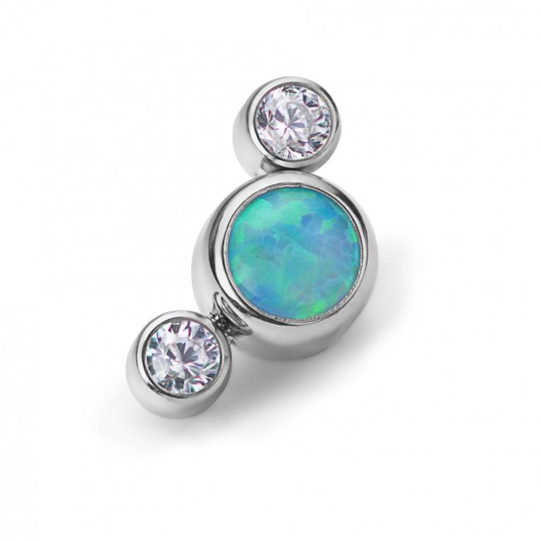 Кластер титановый с голубым опалом и кристаллами Clear CZ