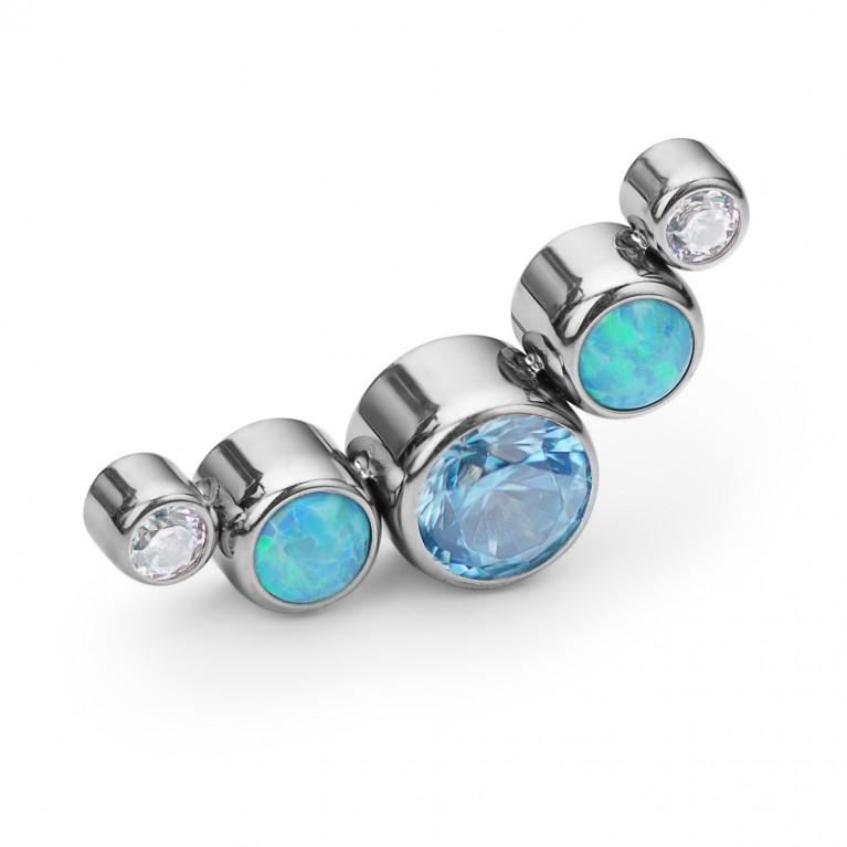 Кластер титановый с голубыми опалами и кристаллами CZ
