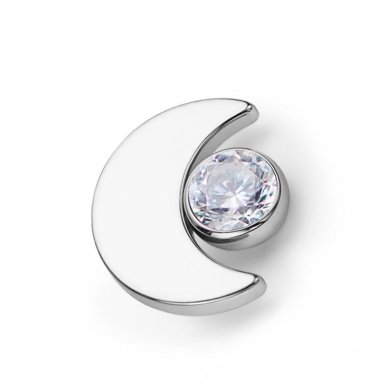 Накрутка Moon титановая с кристаллом Clear CZ