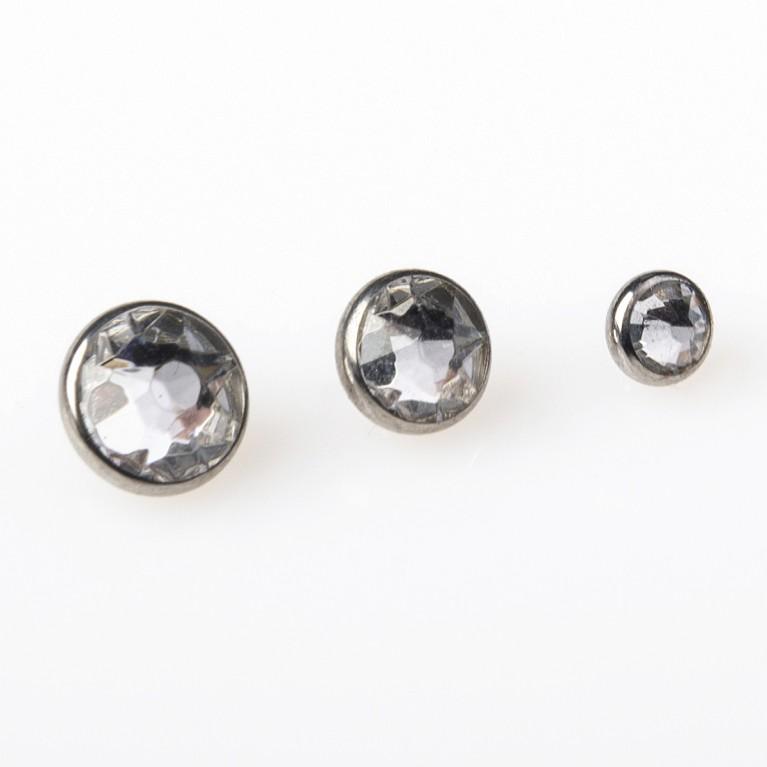 Накрутка титановая Flat Gem с кристаллом Swarovski