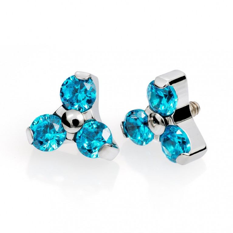 Накрутка из титана с резьбой 0.9 мм и кристаллами (aquamarine) Swarovski