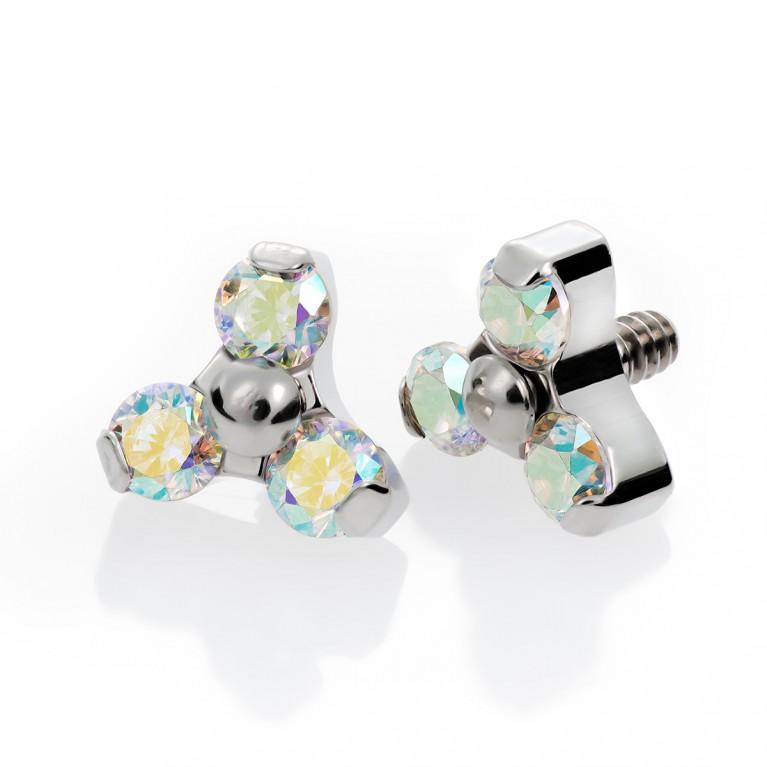 Накрутка из титана с резьбой 0.9 мм и кристаллами AB Swarovski