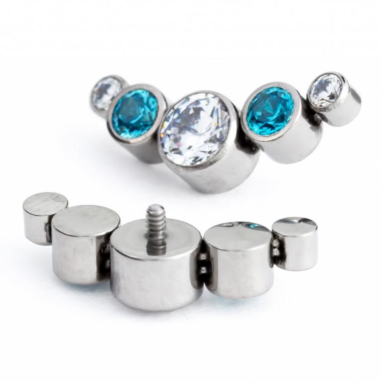 Кластер титановый с кристаллами CZ (белый/голубой)