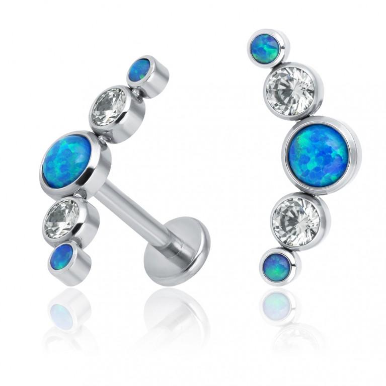 Кластер титановый с синими опалами и кристаллами Swarovski