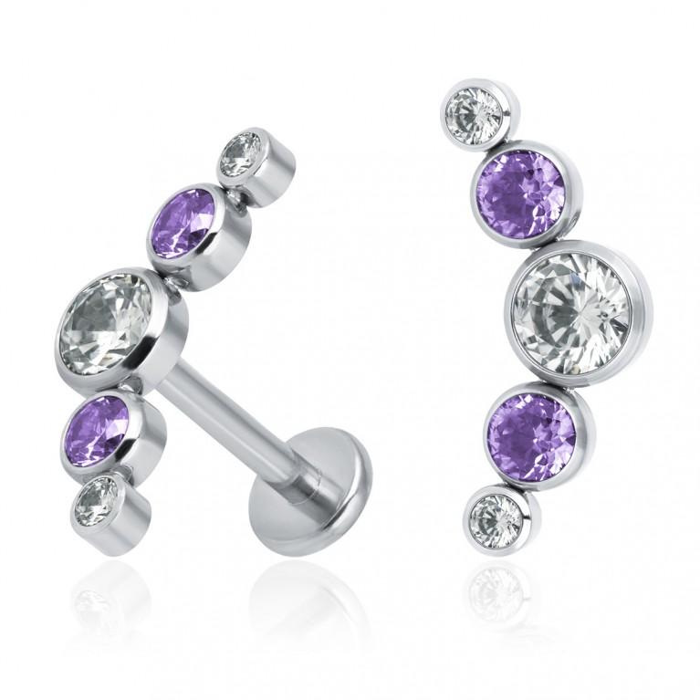 Кластер титановый с кристаллами Swarovski (белый/фиолетовый)