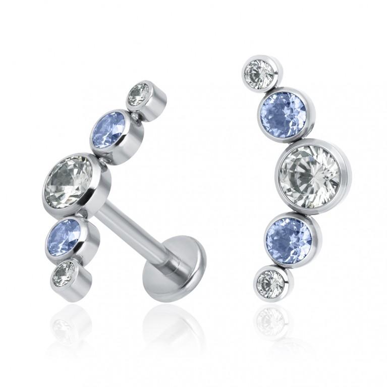 Кластер титановый с кристаллами Swarovski (белый/голубой)