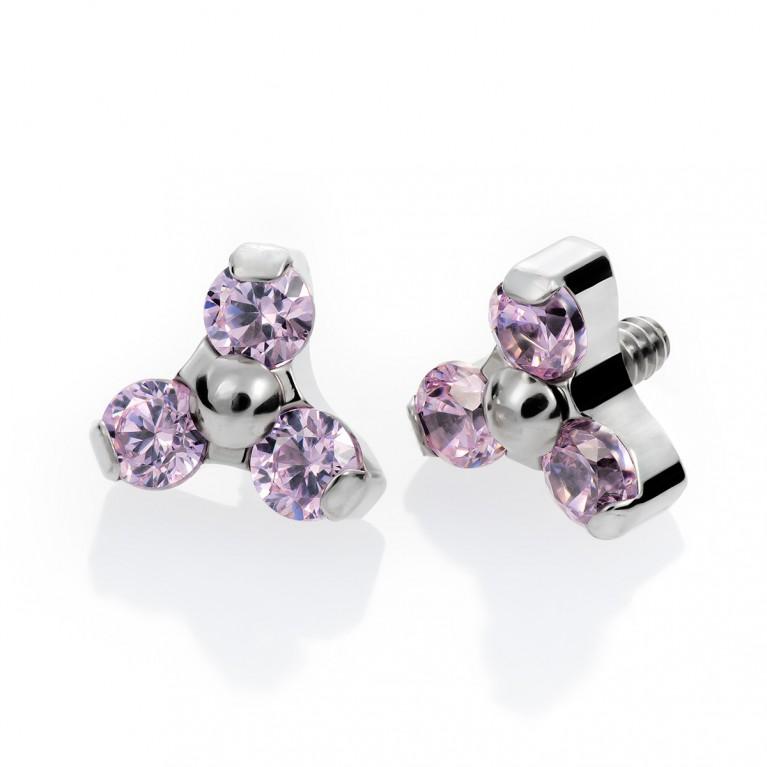 Накрутка из титана с резьбой 0.9 мм и розовыми (Lt. Rose) кристаллами Swarovski