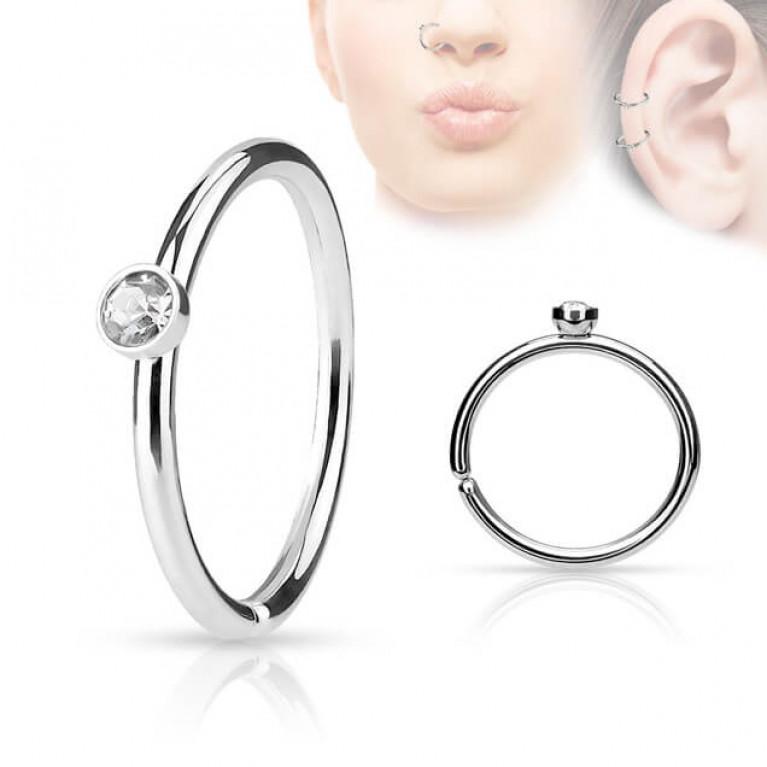 Кольцо в крыло носа и ухо с кристалом 2 мм толщина 0.8 мм диаметр 8 мм