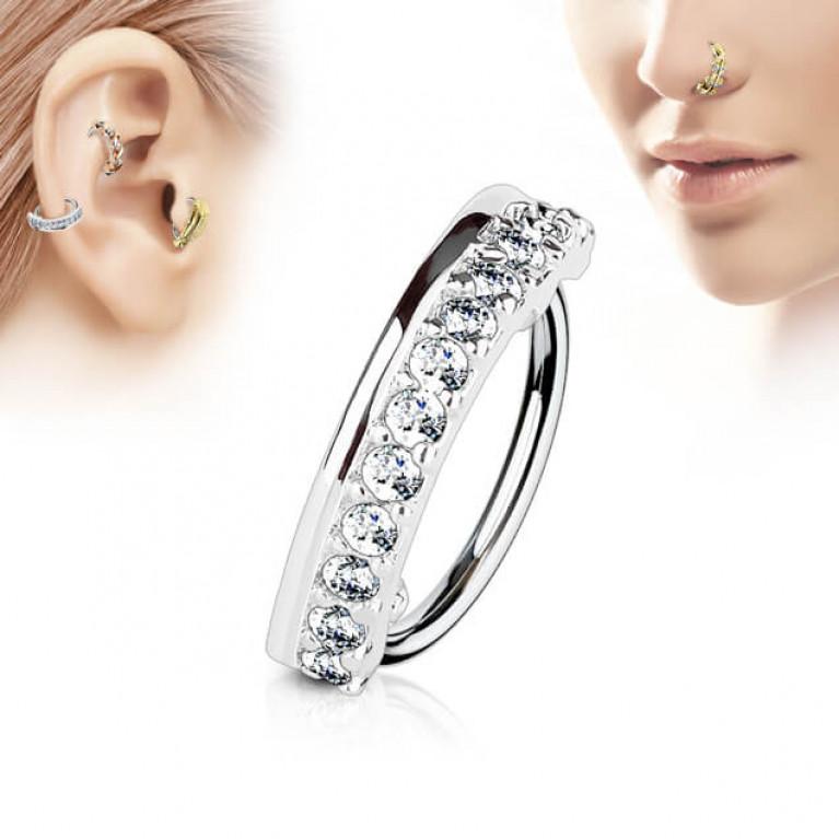 Кольцо в крыло носа и ухо кристаллы толщина 0,8 мм, диаметр 8 мм