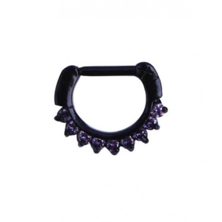 Кликер для септума черный с фиолетовыми кристаллами