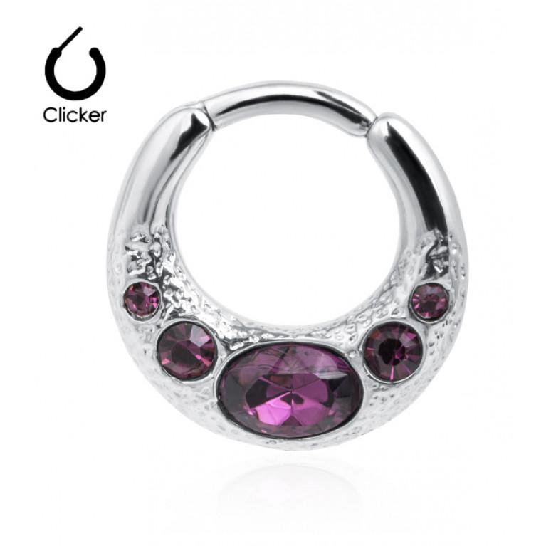 Кольцо кликер с розовыми кристаллами