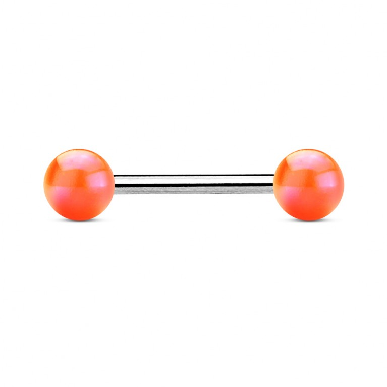 Штанга с металлическим отблеском оранжевая толщина 1.6 мм длина 16 мм шарики 6 мм