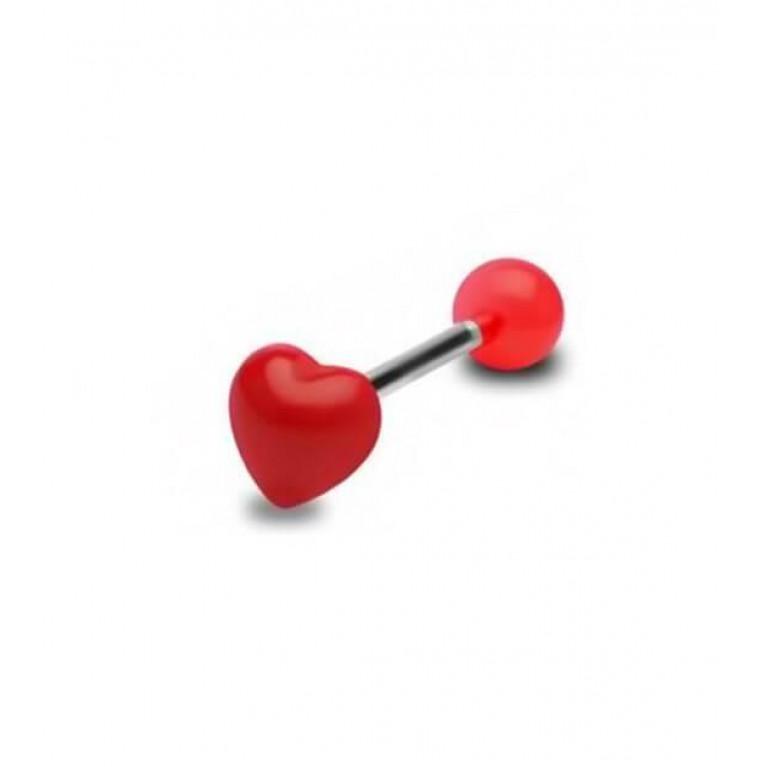 Штанга с сердечком толщина 1.6 мм. длина 16 мм. шарик 8 мм.