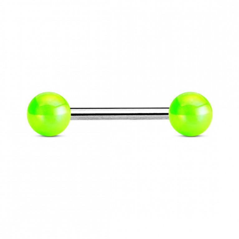 Штанга с металическим отблеском салатовая толщина 1.6 мм. длина 16 мм. шарики 6 мм.