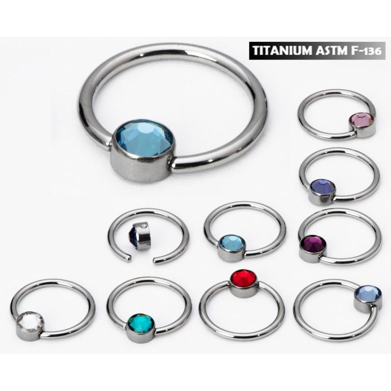 Кольцо BCR из титана с кристаллом толщина 1.2 мм диаметр 10 мм диск 4 мм