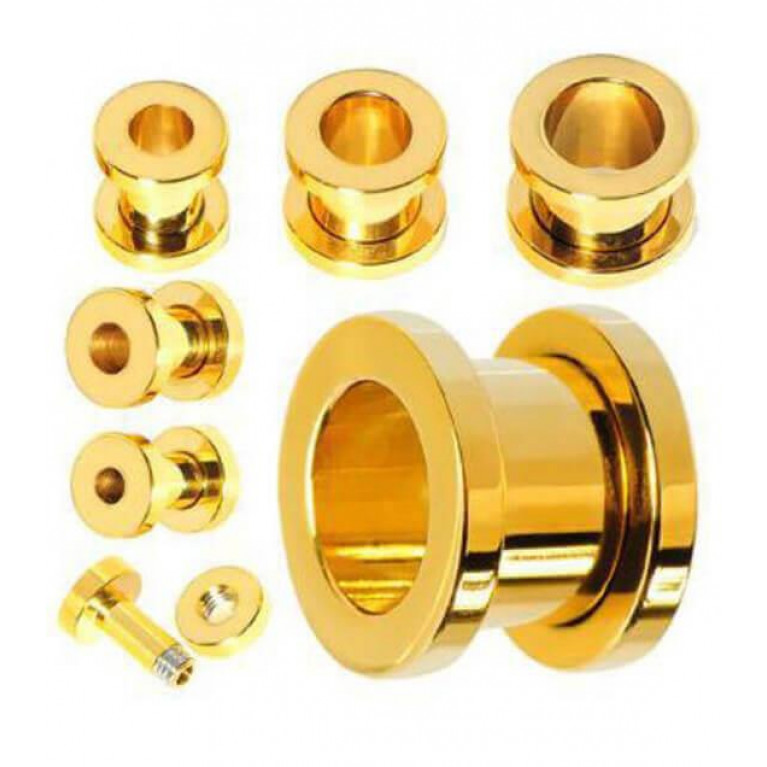 Тоннель золотого цвета хирургическая сталь