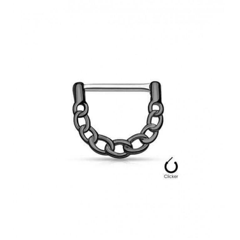 Кликер в сосок цепочка толщина 1.6 мм. длина 12 мм. чёрный цвет