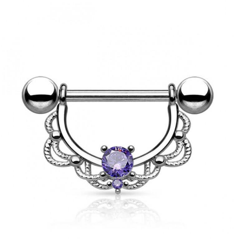 Укращение в сосок с фиолетовым кристаллом толщина 1.6 мм. длина 16 мм.