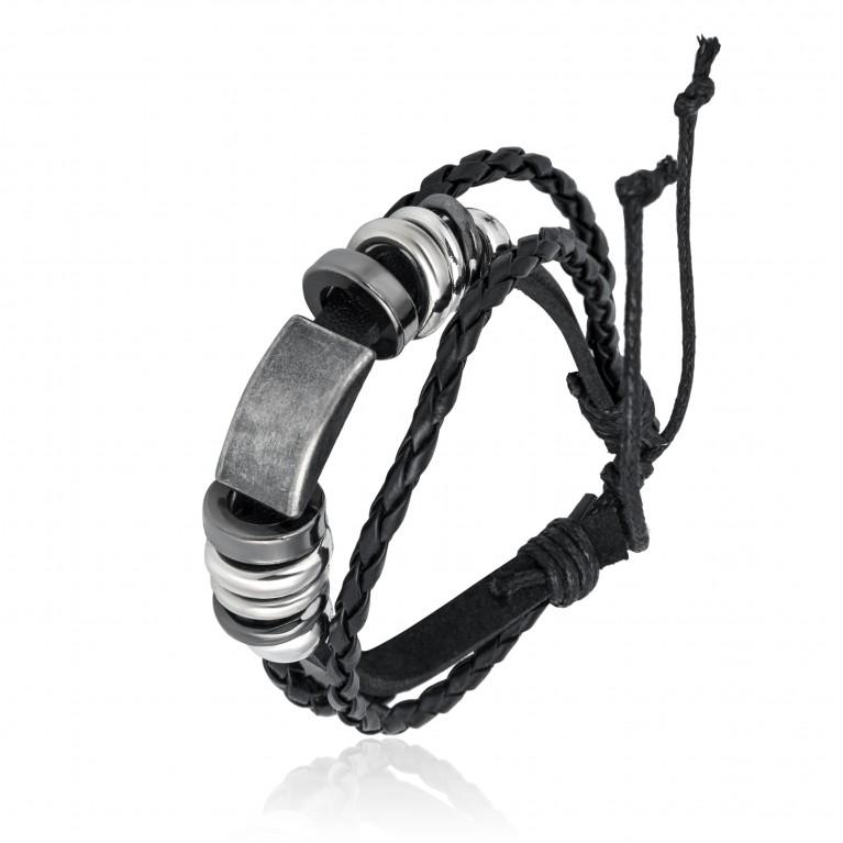 Браслет черный кожаный на затяжках с кольцами