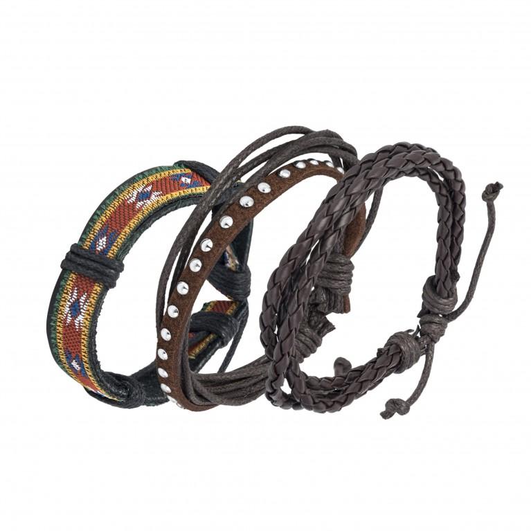 Сет браслетов на затяжках (кожа, текстиль)