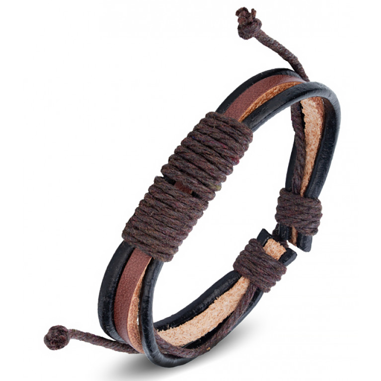 Браслет коричневый плетеный на затяжках