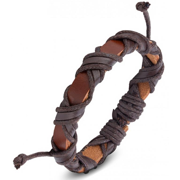 Браслет кожаный коричневый Бонго переплёт на затяжках